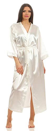 A:E: Damen langes Kimono Nachtmantel Seidenrobe Morgenmantel, S M L XL 2XL Ecru 2XL