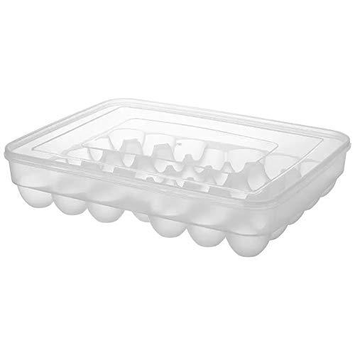FEGSX Caja de almacenamiento para huevos de gran capacidad, de plástico duro, organizador para nevera, contenedor para huevos, 34 rejillas 0414 (color claro)
