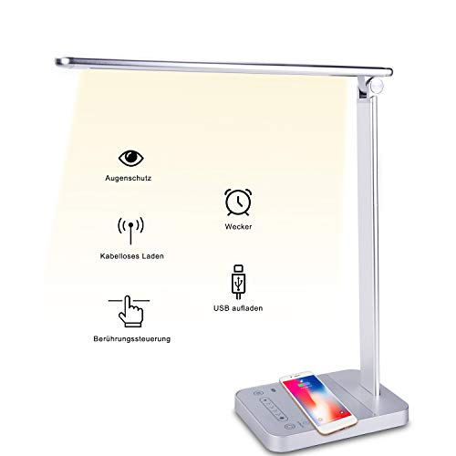 FamBrow Schreibtischlampe Led, Intelligent Tischlampe Dimmbar Kabellosem Ladegerät Augenpflege, Schreibtischlampe Tageslicht Energieeffizient with Timer-Speicherfunktion USB-Anschluss