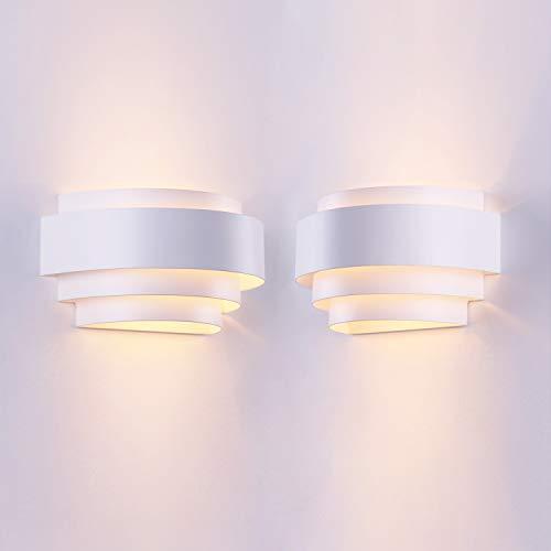 LightInTheBox Lámpara de pared moderna y contemporánea para salón, dormitorio, 60 W, 2 unidades, color blanco