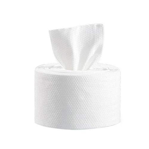 Berrywho Dry Wipes Simple Maquillaje Facial Toallitas Toallitas Sensible de Tejido de algodón de la Piel Almohadillas de algodón desechable Limpieza Facial Toalla Blanca 280G