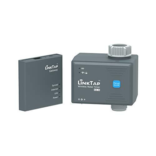 LinkTap G1S Computer per Irrigazione Intelligente con Gateway – Programmatore irrigazione Batteria per Prati e Giardino con Smart App, Riconosce Le Condizioni Meteo, Portata più Lunga del WiFi, IP66