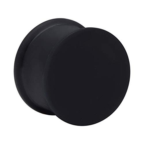 Crazy Factory® Ribbed Plug aus Silikon | 16mm Schwarz • Piercing • Ohr • Günstig • Basic • Top Qualität