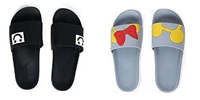 DES TONGS Women's Flip Flops Combo (Smiley & Micky Mini, Black Grey 3)