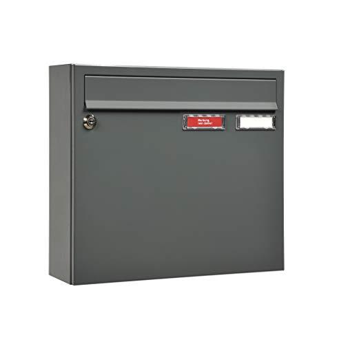 MEFA Briefkasten Sonate 132 mit Namensschild (Farbe basaltgrau, Postkasten mit Schloss, Größe 330x370x108 mm) 132310