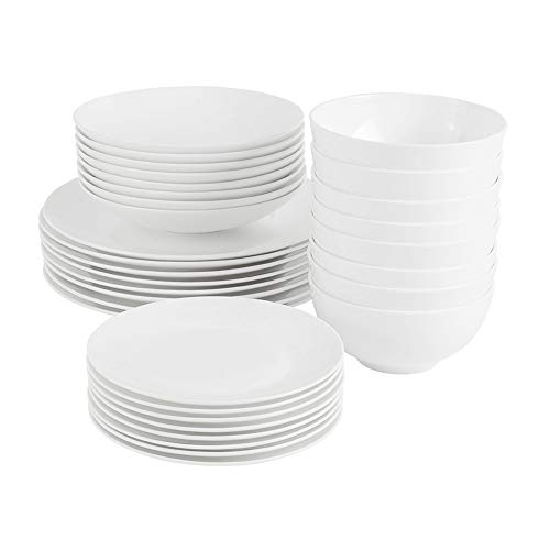 ProCook Malvern Bone China Dinner Set - White - 32 Piece - Dinner Plates, Side Plates, Pasta Bowls and Cereal Bowls with Elegant Contemporary Style for 8 Table Settings