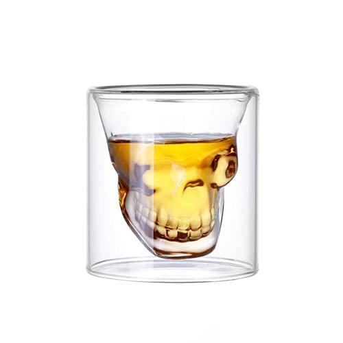 GFRGFH Doble capa de cristal cráneo taza en forma de personalidad de vino de vidrio de café taza de cóctel de 100 ml 7 cm