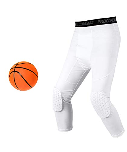 Basketball Compression Pants With Pads, White 3/4 Capri Compression Pants Padded, Basketball Tights Leggings for Men Women Boys Girls, Youth Knee Pads for Basketball Softball Volleyball Soccer (S)