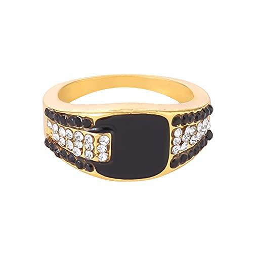 MGZQ Anillo para manualidades con esmalte de diamantes de imitación, estilo punk hip-hop, anillo ancho para hombres y mujeres, 2.3cm, zinc,