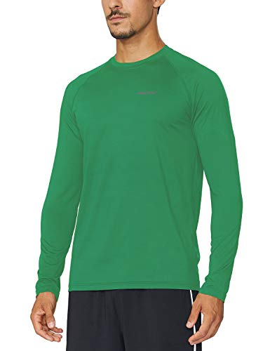 BALEAF Men's Long Sleeve Running Shirts Athletic Workout T-Shirts Forest Green Size M