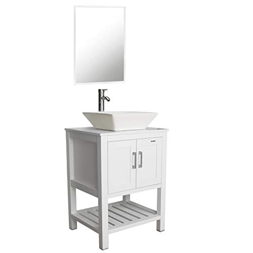 """eclife 24"""" White Bathroom Vanity Sink Combo Modern Stand Pedestal W/Square White Ceramic Vessel Sink, Chrome Bathroom Solid Brass Faucet and Pop Up Drain Combo, W/Mirror (A07B06W)"""