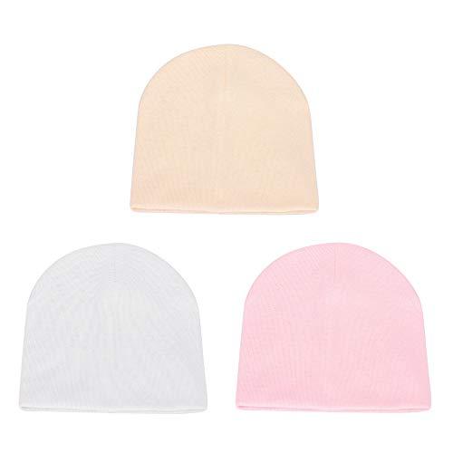 MK MATT KEELY 3 unidades de gorros de bebé recién nacidos, gorros de algodón para bebés de 0 a 3 meses Rosa Yellow + White + Pink Talla única