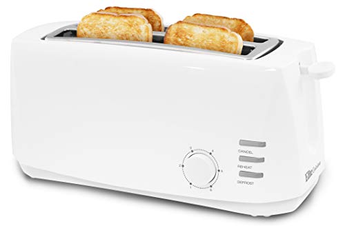 "Elite Gourmet ECT-4829 Long, 6 Toast Settings Toaster Defrost, Reheat, Cancel Functions, Extra Wide 1.25"" Slots for Bagels Waffles, Slide Out Crumb Tray, 4 Slice, White"