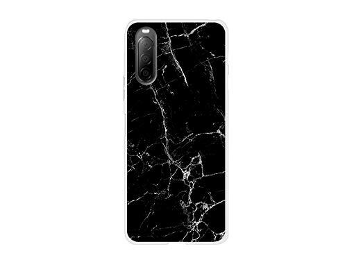 etuo Hülle für Sony Xperia 10 II - Hülle Fantastic Hülle - Schwarze Marmor Handyhülle Schutzhülle Etui Hülle Cover Tasche für Handy