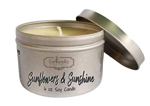 SUNFLOWERS & SUNSHINE Natural Soy Wax 6 oz. Tin Candle, long 40+ hour burn time