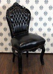 Casa Padrino Barock Esszimmer Stuhl Schwarz Lederoptik/Schwarz - Antik Stil Möbel