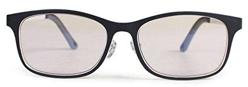エニックス 老眼鏡 ブルーライトカット メンズ +1.0 度数 超弾性フレーム ウェリントン ブラック ECCRL07-10