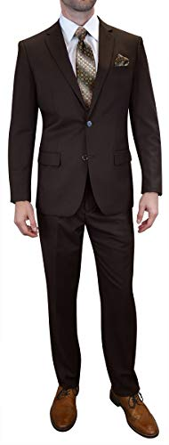 Men's 2PC Navy Business Suit Modern Fit 2 Button Single Breasted Jacket & Pants