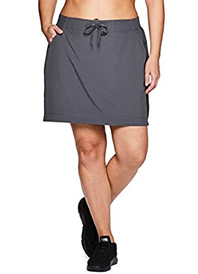 RBX Active Women's Plus Size Woven Drawstring Skort w/Inner Bike Short Grey 1X