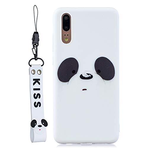 Jorisa Coque pour Huawei P20 Pro,Blanc Liquide Silicone Souple Anti-Rayures Ultra Fine Slim Coque Dessin Animé Mignon Animal Motif Étui avec Dragonne Flexible TPU Bumper Housse,Panda