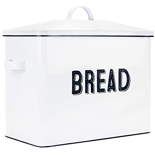 Aesthetic Farmhouse Bread Box For Kitchen Countertop - Extra Large Breadbox Holds 2+ Loaves Of Bread - Perfect Metal Storage Tin To Keep Your Bread, Bagels, Rolls And Buns Fresh For A Long Time