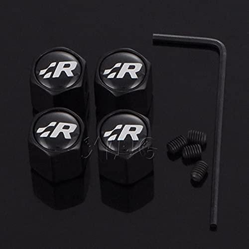 4 Piezas Tapas Para Válvulas, para Volkswagen GR SR R Racing Golf 4 5 6 MK7 GTI Touareg Emblem Neumático Automóvil Prueba De Polvo Antirrobo Aleación Aluminio Neumático Accesorios
