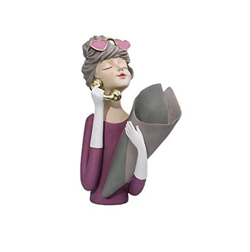 SHUANGJ Butterfly Girl baño Creativo Tejido Tubo adorna Inodoro Golpe Libre Cara Toalla Toalla montado en la Pared Bouquet Girl