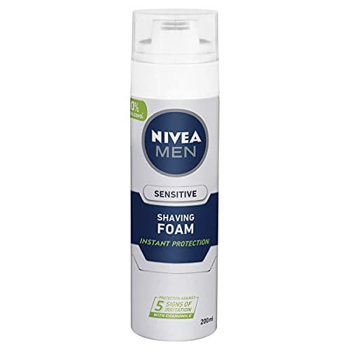 NIVEA MEN Shaving Foam For Sensitive Skin (200ml), Sensitive Shave Foam for Men with Vitamin E and Chamomile for Irritated & Dry Skin.