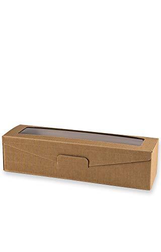 10 Stück Set ! Neutraler 1er Weinpräsentkarton mit Sichtfenster. Geschenkkarton für 1 Flasche Wein, außen & innen Natur, Folienfenster im Deckel. Exklusiver Präsentkarton für Ihr Weingeschenk
