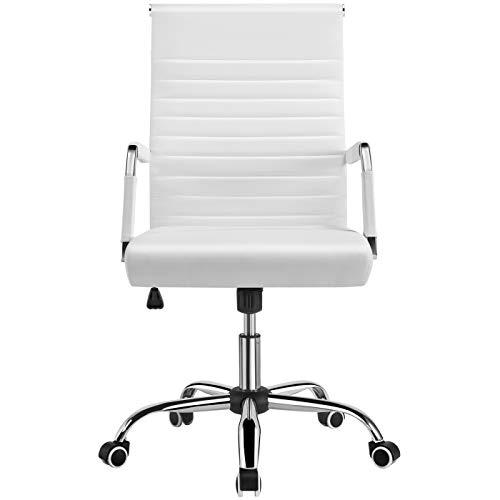 Yaheetech Chaise de Bureau Ergonomique Fauteuil de Bureau Confortable Cuir PU avec Siège Rembourrée Pivotante Dossier Haut Inclinable Blanche