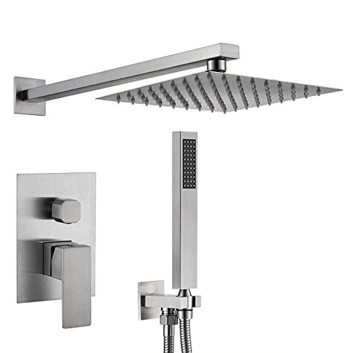 Grifos de baño montados en la pared con mezclador de ducha cepillado 2 funciones sistema de ducha cuadrado ultra fino ducha columna para baño