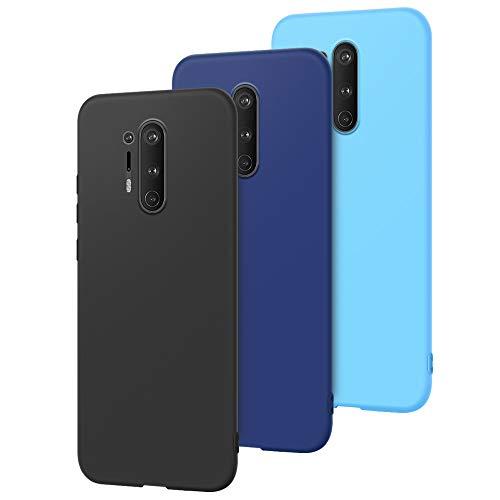 3 x Hülle für OnePlus 8 Pro Handyhülle Ultra Dünn Silikon, E-Lush Schutzhülle Weich Silikon TPU Handy Hülle 360 Grad Stoßfest Kratzfeste Etui Slim Case Cover für OnePlus 8 Pro, Farbe 1