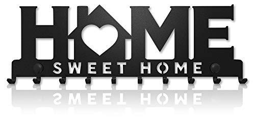 M-KeyCases Schlüsselbrett Home Sweet Home Wand-Organizer (10-Haken) Dekorativer Schlüssel-Board Hakenleiste Schlüsselleiste Vintage Decor Haus-tür Küche Fahrzeug-schlüssel Aufhänger Schwarz