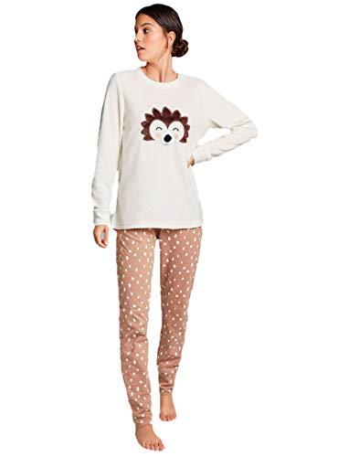 GISELA - Pijama Mujer Erizo Polar Mujer Color: Beige Talla: x-Large
