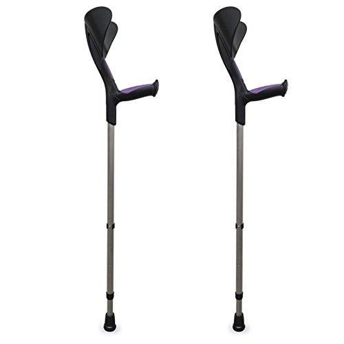 Muletas Advance 2 uds con puño anatómico de goma, Bastón canadiense ortopédico,Color morado, Aluminio, monoplástico