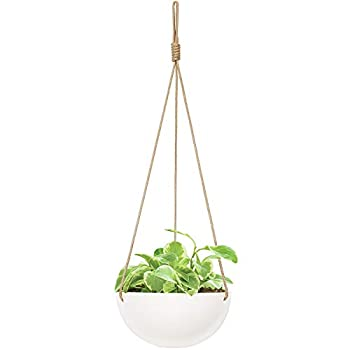 Mkono 9 Inch Ceramic Hanging Planter Indoor Outdoor Modern Round Flower Plant Pot White Porcelain Hanging Basket with Polyester Rope Hanger for Herbs Ferns Ivy Crawling Plants Set of 1