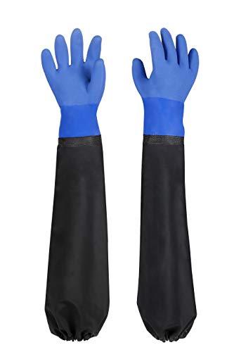 Teichhandschuhe Lang Sandstrahlhandschuhe, 68 cm Beständig Säuren und Laugen Arbeitshandschuhe Wasserdicht, PU Gummihandschuhe, Dick Fischerhandschuhe für Aquarium & Teichpflege Handschuhe, Blau