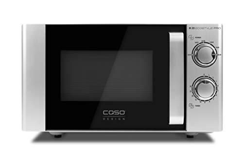 Caso M 20 Ecostyle Pro Mikrowelle, einfache Bedienung, 20 L Garraum, 800 Watt Leistung, Drehteller 3311, Silber, Schwarz