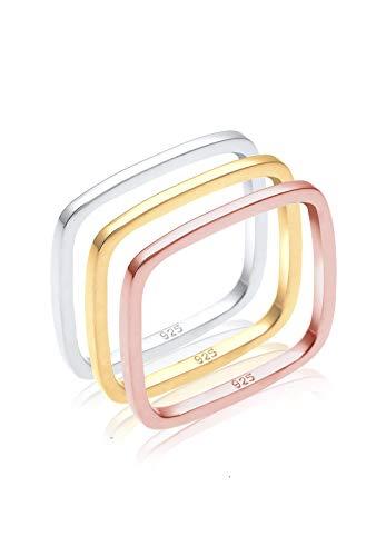 Elli Damen-Ring Tri Color Statement Viereck Set vergoldet silber 925 Gr. 56 (17.8) 0602451216_56