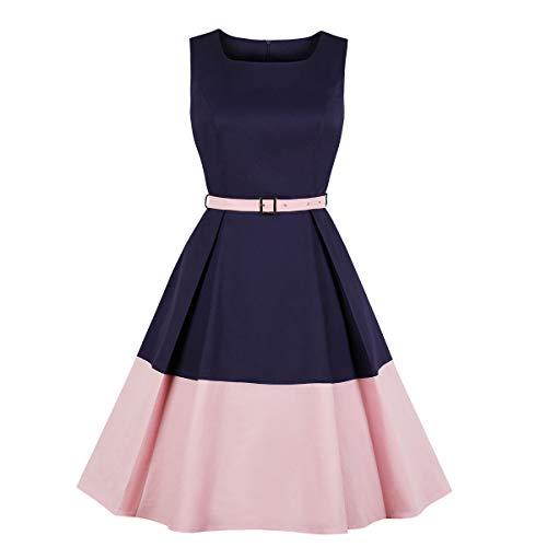 Women's Color Block Belt Pocket 1940s Vintage Work Dress