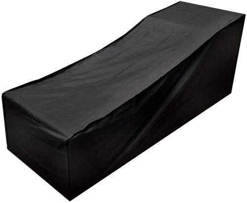 Conpush Funda Protectora para Tumbona Impermeable de Fundas Muebles Exterior 420D Oxford Poliéster Protectora Negro Cubierta para Tumbona contra Lluvia, Nieve, Solar y Polvo