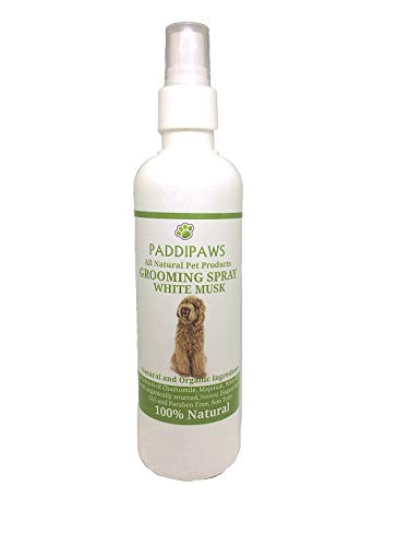 PADDIPAWS 100% Natural - White Musk Cologne for Dogs - Freshen up Smelly Pooches - Use while Grooming to Detangle Knots and Matting - Spray on bedding - White Musk Dog Cologne spray 250ml