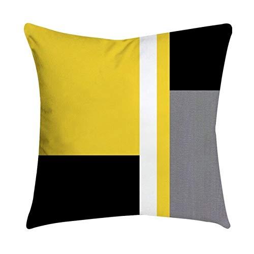 Funda de cojín de 45 x 45 cm, diseño de rayas amarillas geométricas, para dormitorio, oficina, hotel, textile-N, 450 x 450 mm