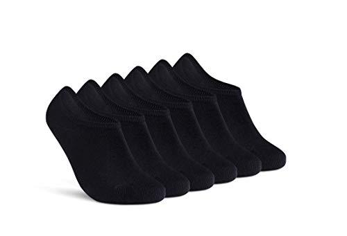 Füßlinge Herren 39-42 Schwarz Sneaker Socken Damen 6 Paar unsichtbare kurze Socken 16805 (Schwarz 39-42)