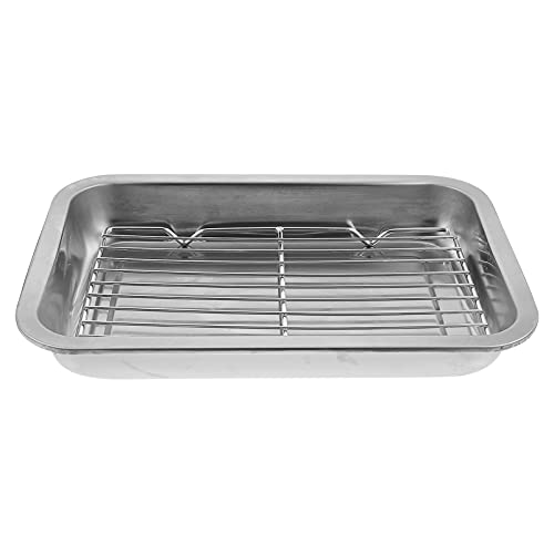 DOITOOL 1 Set Baking Sheet and Rack Set Stainless Steel Cookie Sheets Cookie Pan with Cooling Rack for Kitchen Baking Size S