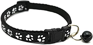 Adjustable Cat Collar Cute Pet Collar with Removable bell for Cats Small Dogs (Black)