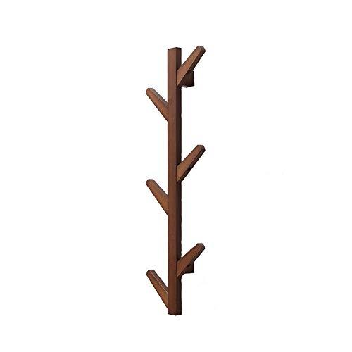 Kapstok, kledingrek, wandkapstok, met haken, houten entree, opbergvak, eenvoudige installatie, 3 maten, retro-stijl (kleur: houtkleur maat: 4 haken) 3 haks-bruin
