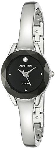 Armitron Reloj de pulsera para mujer, esfera de diamante, 75/5327, 75/5327BKSV, Plateado/Negro