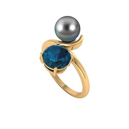 Anillo de dos piedras de 4,50 CT con topacio azul Londres y perla de Tahití, anillo de promesa para mujer (calidad AAA), 14K Oro