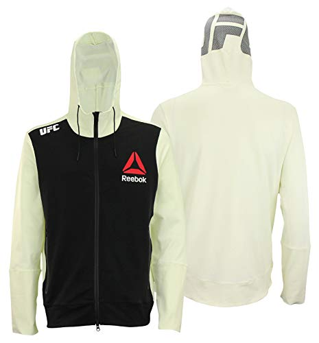 Reebok UFC Mens Full Zip Walkout Hoodie (Black Front/Off-White Back, Small)